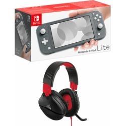 Nintendo Switch Lite - Grey + Turtle Beach Recon 70N Black for Switch