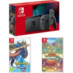 Nintendo Switch - Grey (improved battery) + Pokemon Mystery Dungeon: Rescue Team DX + Pokemon Sword for Switch found on Bargain Bro UK from game UK