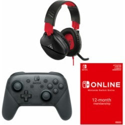 Turtle Beach 70N + Nintendo Switch Wireless Pro Controller + Nintendo Switch Online 12 Month Membership for Switch
