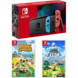 Nintendo Switch - Neon (improved battery) + Animal Crossing: New Horizons + The Legend of Zelda - Link's Awakening for Switch