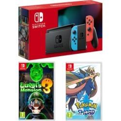 Nintendo Switch - Neon (improved battery) + Luigi's Mansion 3 + Pokemon Sword for Switch