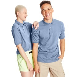 Hanes Men's Cotton-Blend EcoSmart Jersey Polo Light Blue M found on Bargain Bro India from Hanes Underwear for $7.00