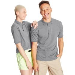Hanes Men's Cotton-Blend EcoSmart Jersey Polo Ash S found on Bargain Bro India from Hanes Underwear for $7.00