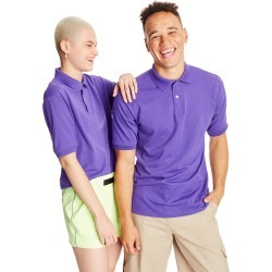 Hanes Men's Cotton-Blend EcoSmart Jersey Polo Purple M found on Bargain Bro Philippines from Hanes Underwear for $7.00