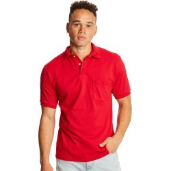 Hanes Men's Cotton-Blend EcoSmart Jersey Polo with Pocket Deep Red S found on Bargain Bro India from Hanes Underwear for $8.00