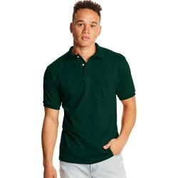 Hanes Men's Cotton-Blend EcoSmart Jersey Polo with Pocket Deep Forest S found on Bargain Bro India from Hanes Underwear for $8.00