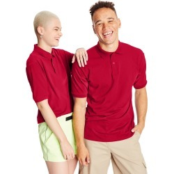 Hanes Men's Cotton-Blend EcoSmart Jersey Polo Deep Red M found on Bargain Bro Philippines from Hanes Underwear for $7.00
