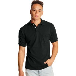 Hanes Men's Cotton-Blend EcoSmart Jersey Polo with Pocket Black 3XL found on Bargain Bro India from Hanes Underwear for $8.00