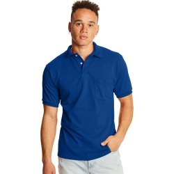 Hanes Men's Cotton-Blend EcoSmart Jersey Polo with Pocket Deep Royal M found on Bargain Bro India from Hanes Underwear for $8.00