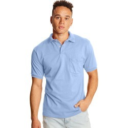 Hanes Men's Cotton-Blend EcoSmart Jersey Polo with Pocket Light Blue S found on Bargain Bro India from Hanes Underwear for $8.00