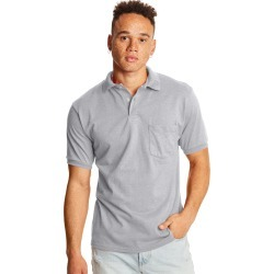Hanes Men's Cotton-Blend EcoSmart Jersey Polo with Pocket Ash L found on Bargain Bro India from Hanes Underwear for $8.00