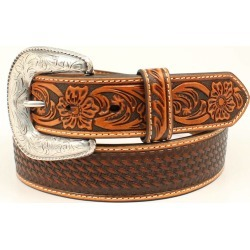 Ariat Mens Floral Embossed Buckle Belt - Tan found on Bargain Bro India from horseloverz.com for $45.00