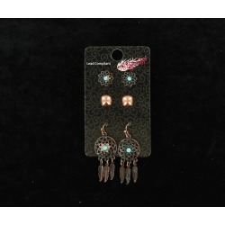 Blazin Roxx Flower Post And Dream Catcher Earrings Set found on Bargain Bro India from horseloverz.com for $19.49