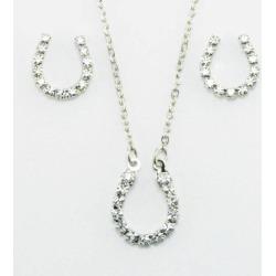 Western Edge Crystal Rhinestone Horseshoe Earrings And Necklace Set