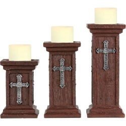 Montana Silversmiths Square Pillars with  Cross Candle Holders