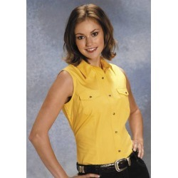 Roper Ladies Poplin Sleeveless Variegated Snap Shirt - Yellow found on Bargain Bro India from horseloverz.com for $24.99