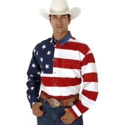 Roper Mens Stars & Stripes American Flag Twill Long Sleeve Button Shirt found on Bargain Bro India from horseloverz.com for $50.18