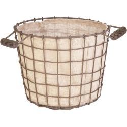 Rustic Woven Wire Bushel Basket With Burlap Liner