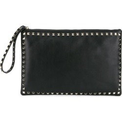 Valentino - Valentino Garavani Rockstud clutch - women - Cotton/Leather/metal - One Size, Black, Cotton/Leather/metal