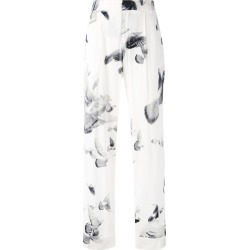 A.F.Vandevorst - printed wide leg trousers - women - Silk - 40, White