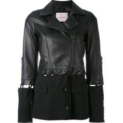 A.F.Vandevorst - fabric panel jacket - women - Lamb Skin - 40, Black