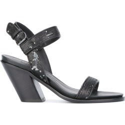 A.F.Vandevorst - ankle strap sandals - women - Leather/Polyester - 37.5, Black, Leather/Polyester