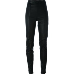 A.F.Vandevorst - paneled leggings - women - Goat Skin - 40, Black, Goat Skin