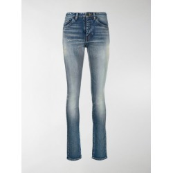 Saint Laurent stonewashed high-rise skinny jeans found on Bargain Bro India from stefania mode for $375.00
