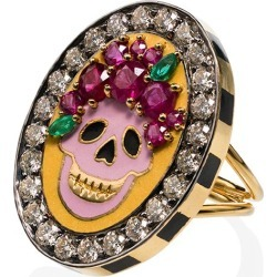Holly Dyment 18k yellow gold Skull diamond and ruby ring - found on Bargain Bro India from FarFetch.com - US for $11183.00