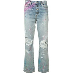 Amiri paint print boyfriend jeans - Blue found on MODAPINS from FARFETCH.COM Australia for USD $608.93