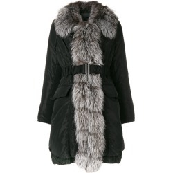fur trim coat   Black title=