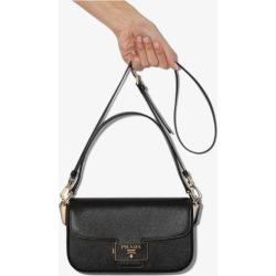 Prada Womens Black Emblème Saffiano Leather Baguette Bag found on Bargain Bro UK from Browns Fashion