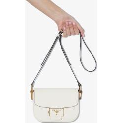 Prada Womens White Emblème Leather Shoulder Bag found on Bargain Bro UK from Browns Fashion