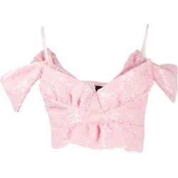 Simone Rocha sequinned bardot crop top - PINK found on Bargain Bro Philippines from FARFETCH.COM Australia for $597.51