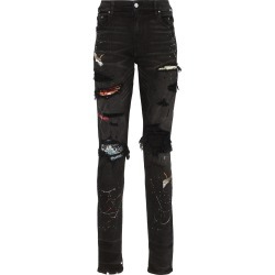 Amiri distressed patch-embroidered jeans - Black found on MODAPINS from FARFETCH.COM Australia for USD $1625.43