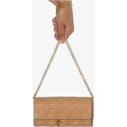Fendi Womens Neutrals Nude Brown Embossed Logo Leather Clutch Bag found on Bargain Bro UK from Browns Fashion
