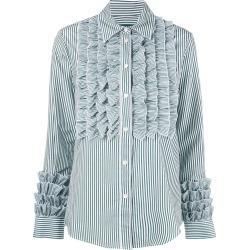 Alexa Chung striped ruffle shirt - White found on MODAPINS from FARFETCH.COM Australia for USD $372.50