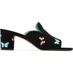 Blue Bird Shoes embroidered mules - Black