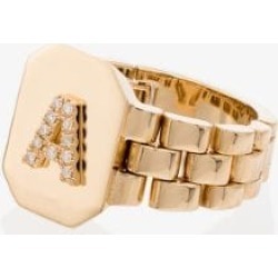 SHAY 18K yellow gold diamond A initial ring