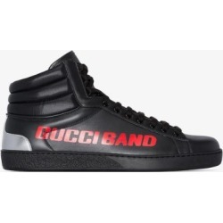 Gucci Mens Black Ace Gucci Mens Band Leather High Top Sneakers