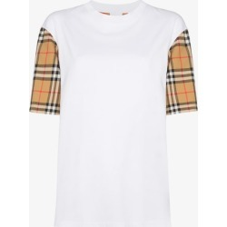 Burberry Womens White Vintage Check Sleeve Cotton T-shirt found on Bargain Bro UK from Browns Fashion