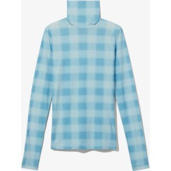 Proenza Schouler White Label Diffused Gingham Jersey Long Sleeve Turtleneck pwdr bl/sky bl diff ging/blue S