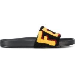 Fendi logo patch slider sandals - Black