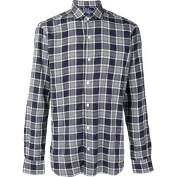 Barba checked button shirt - Blue found on MODAPINS from FARFETCH.COM Australia for USD $118.38