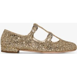 Miu Miu gold double T-bar glitter pumps found on Bargain Bro UK from Browns Fashion