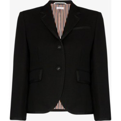 Thom Browne Womens Black Classic Single Breasted Sport Coat With Grosgrain Tipping In 2 Ply Fresco found on Bargain Bro UK from Browns Fashion