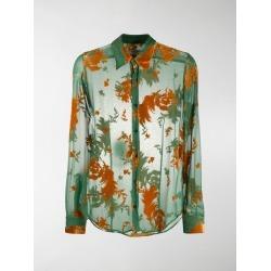 Dries Van Noten Chainey flocked chiffon shirt found on Bargain Bro UK from MODES GLOBAL