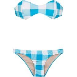Adriana Degreas checked sleeveless bikini set - Blue found on MODAPINS from FarFetch.com- UK for USD $327.39