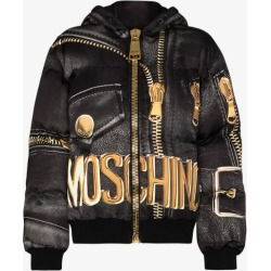 Moschino Womens Black Marco Biker-print Puffer Jacket found on Bargain Bro UK from Browns Fashion