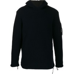 CP Company Lens ribbed-knit hoodie - Blue found on Bargain Bro UK from FarFetch.com- UK